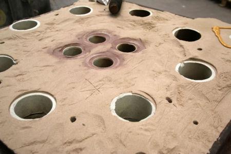 Détail moule sable prêt-à-couler